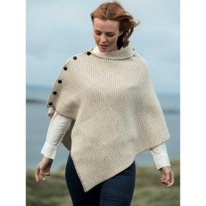 New Aran Wool Asymmetrical Poncho Sweater Cream